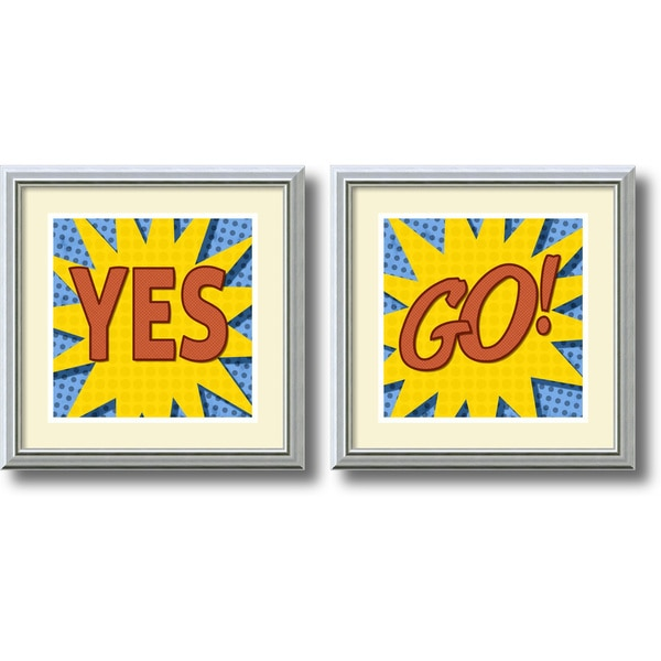 BG Studio 'Word Power - Yes/Go!- set of 2' Framed Art Print 18 x 18-inch Each