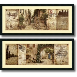 Keith Mallett 'Tuscany and Courtyard- set of 2' Framed Art Print 42 x 18-inch Each