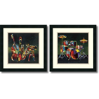 Elli and John Milan 'Musical Ensemble- set of 2' Framed Art Print 18 x 18-inch Each