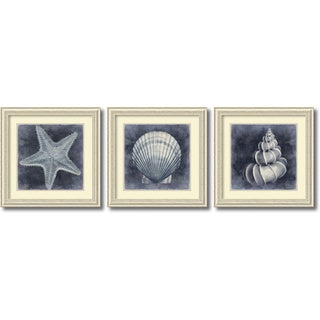 Caroline Kelly 'Ocean Blue- set of 3' Framed Art Print 29 x 29-inch Each