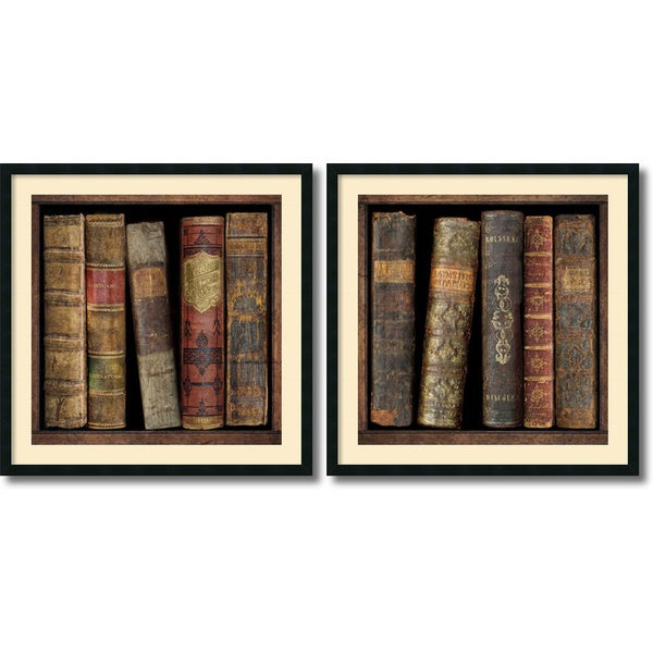 Russell Brennan 'In the Library- set of 2' Framed Art Print 34 x 34-inch Each
