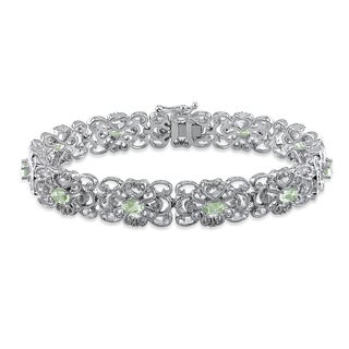 Miadora Sterling Silver Green Amethyst and 1/5ct TDW Diamond Bracelet (H-I, I2-I3)
