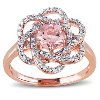 Miadora 10k Rose Gold Morganite and 1/4ct TDW Diamond Ring (G-H, I1-I2)