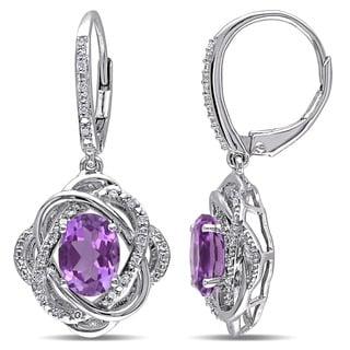 Miadora Sterling Silver Amethyst and 1/6ct TDW Diamond Flower Earrings (H-I, I2-I3)