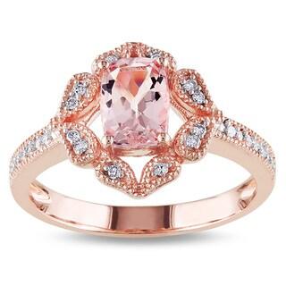 Miadora 10k Rose Gold Cushion-cut Morganite and 1/10ct TDW Diamond Ring (H-I, I2-I3)