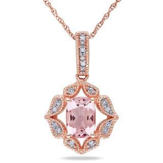 Miadora 10k Rose Gold Cushion-cut Morganite and Diamond Accent Necklace