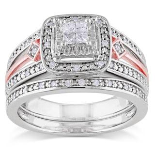 Miadora Two-tone Silver 1/4ct TDW Diamond Bridal Ring Set (H-I, I2-I3)