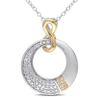 Haylee Jewels Sterling Silver Two-Tone Diamond Infinity Circle Necklace