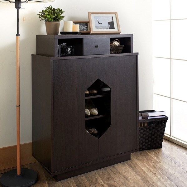 Furniture of America Larkins Modern Cut-Out Espresso Shoe Cabinet