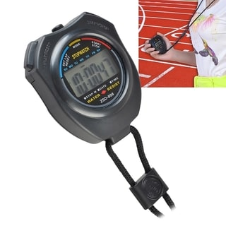 BasAcc Black LCD Digital Stopwatch with Neck Strap for Workout
