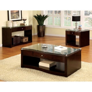 Furniture of America Brook 3-Piece Espresso Glass Top Accent Table Set