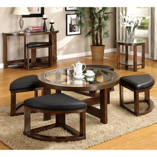 Furniture of America Gracie Dark Walnut 3-Piece Accent Table Set