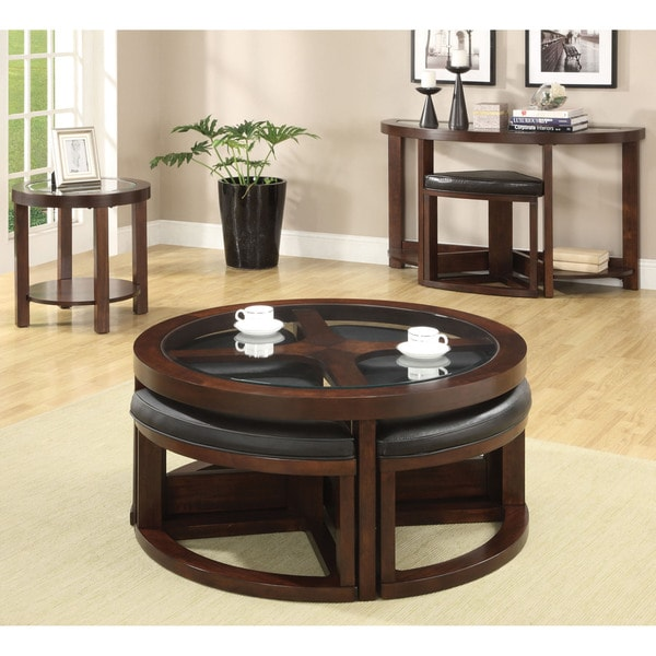 Coffee Table Ottoman Combo Set Wedge Chair Space Saver Accent Living Room Condo Ebay