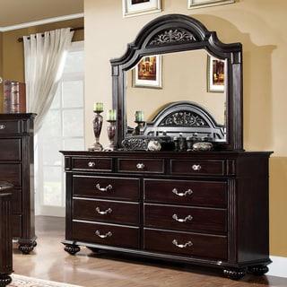 Furniture of America Grande Dark Walnut 2-Piece Dresser and Mirror Set