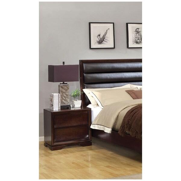 Furniture of America Zoria Dark Walnut 2-Drawer Nightstand