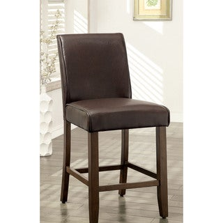 Furniture of America Tressima Dark Oak Leatherette Counter Height Chair (Set of 2)