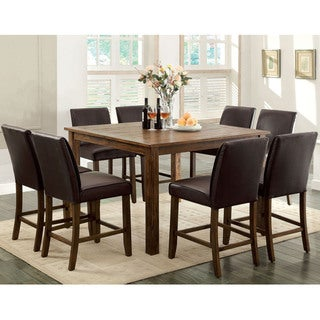 Furniture of America Tressima 9-Piece Dark Oak Counter Height Set
