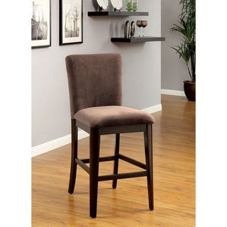 Furniture of America Keystone Brown Velvet Counter Height Chair (Set of 2)