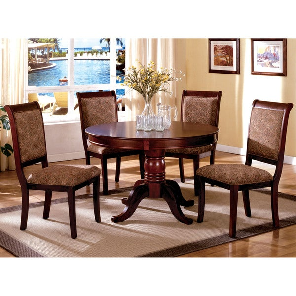 Furniture of America Ravena Antique Cherry 5-Piece Round Dining Set ...