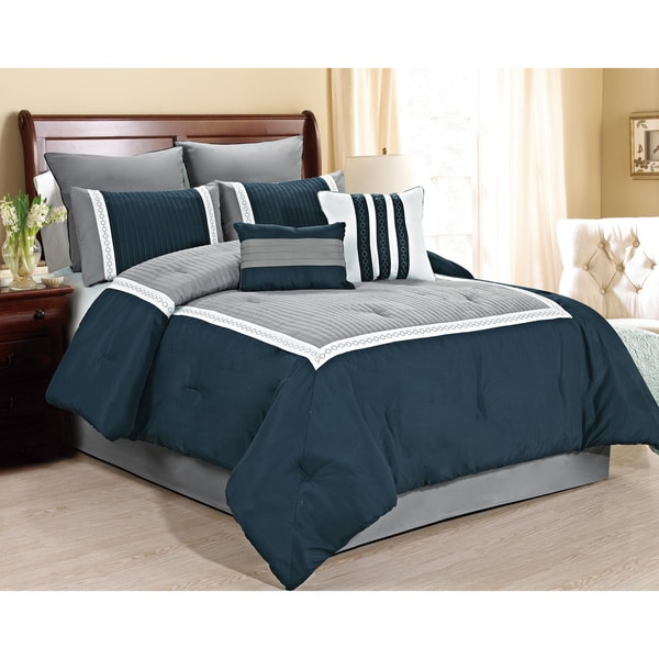 Fashion Street Giornali 8-piece Comforter Set (Navy/Queen)(As Is Item)