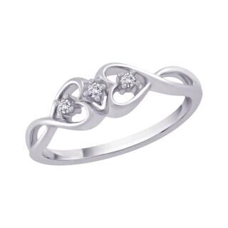 10k White Gold 1/10ct TDW White Diamond Double Heart Promise Ring (G-H, I2-I3)