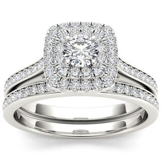 De Couer 10k White Gold 3/4ct TDW Diamond Double Halo Bridal Set (H-I, I1-I2)
