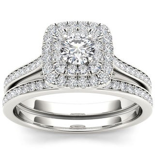 De Couer 10k White Gold 3/4ct TDW Diamond Double Halo Bridal Set (H-I, I1-I2) with Bonus Necklace
