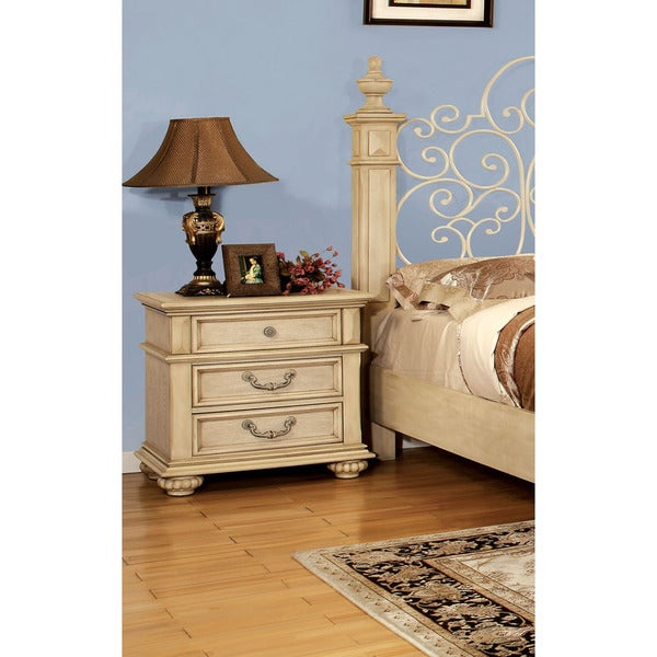 Furniture of America Lucielle Antique White 3-Drawer Nightstand