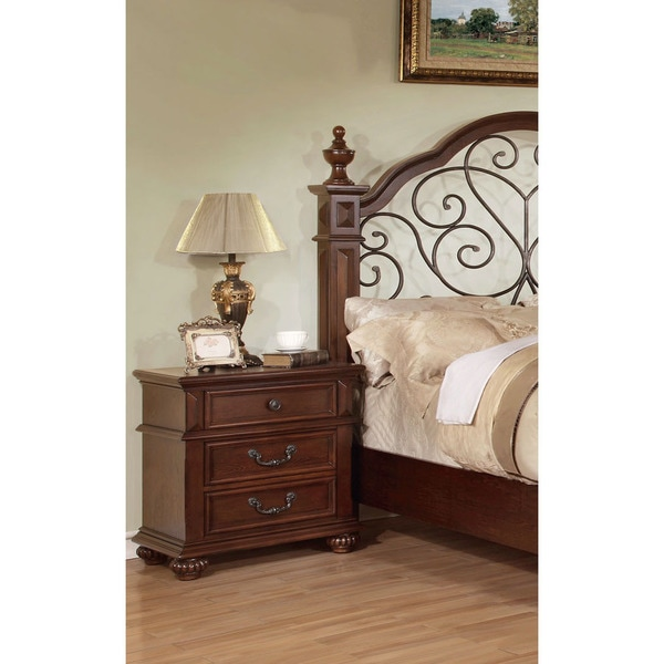 Furniture of America Barath 3-Drawer Antique Dark Oak Nightstand