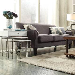 TRIBECCA HOME Uptown Modern Dark Gray Linen Sofa