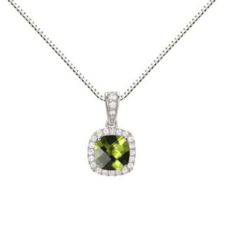 Sterling Silver Peridot/ Created White Sapphire Halo Pendant Necklace
