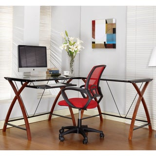 Cherry/ Black Finish Wood and Glass Computer Desk
