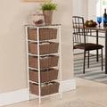 Metal and Wicker Tiered Storage Shelf