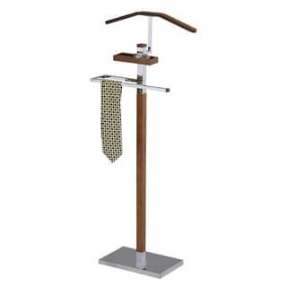 Tobacco Brown Wood and Metal Valet Stand
