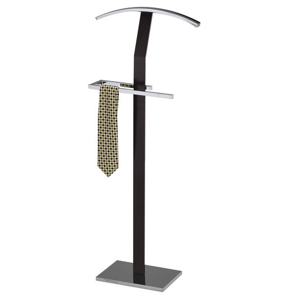 Dark Brown Wood and Metal Valet Stand