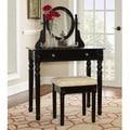 Linon Lorraine Black Wood Vanity Set