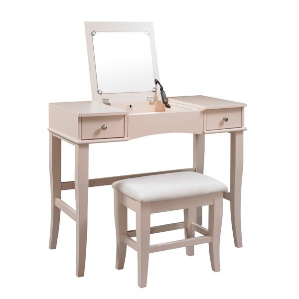 Oh home hermosa cream vanity table stool and mirror for Table 6 ohio