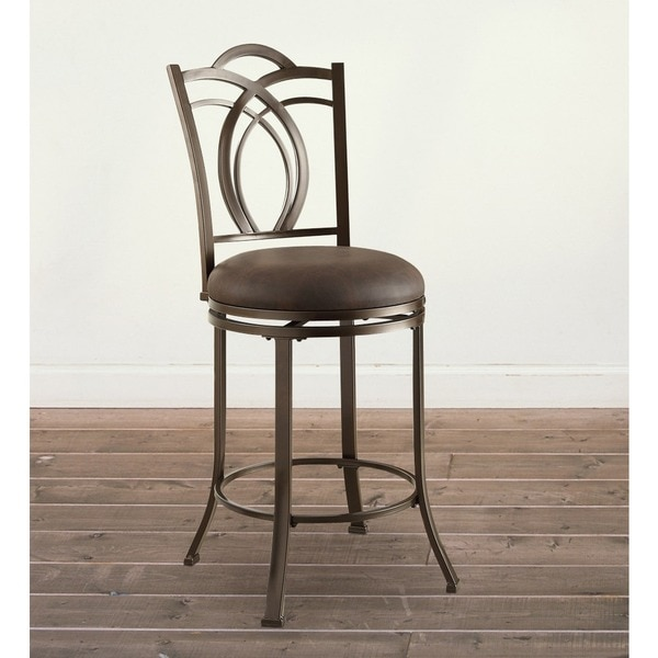 Oh Home Khalifah Metal Swivel Counter Stool With Coffee