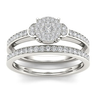 De Couer 10k White Gold 1/2ct TDW Diamond Composite Bridal Set (H-I, I1-I2) with Bonus Necklace