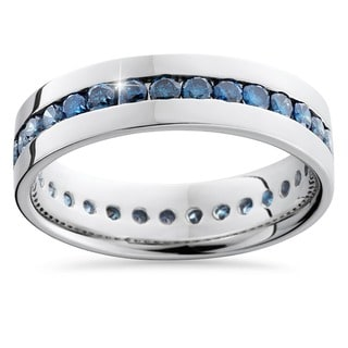 Bliss 14k White Gold 1 1/4ct Channel Set Blue Diamond Men's Band