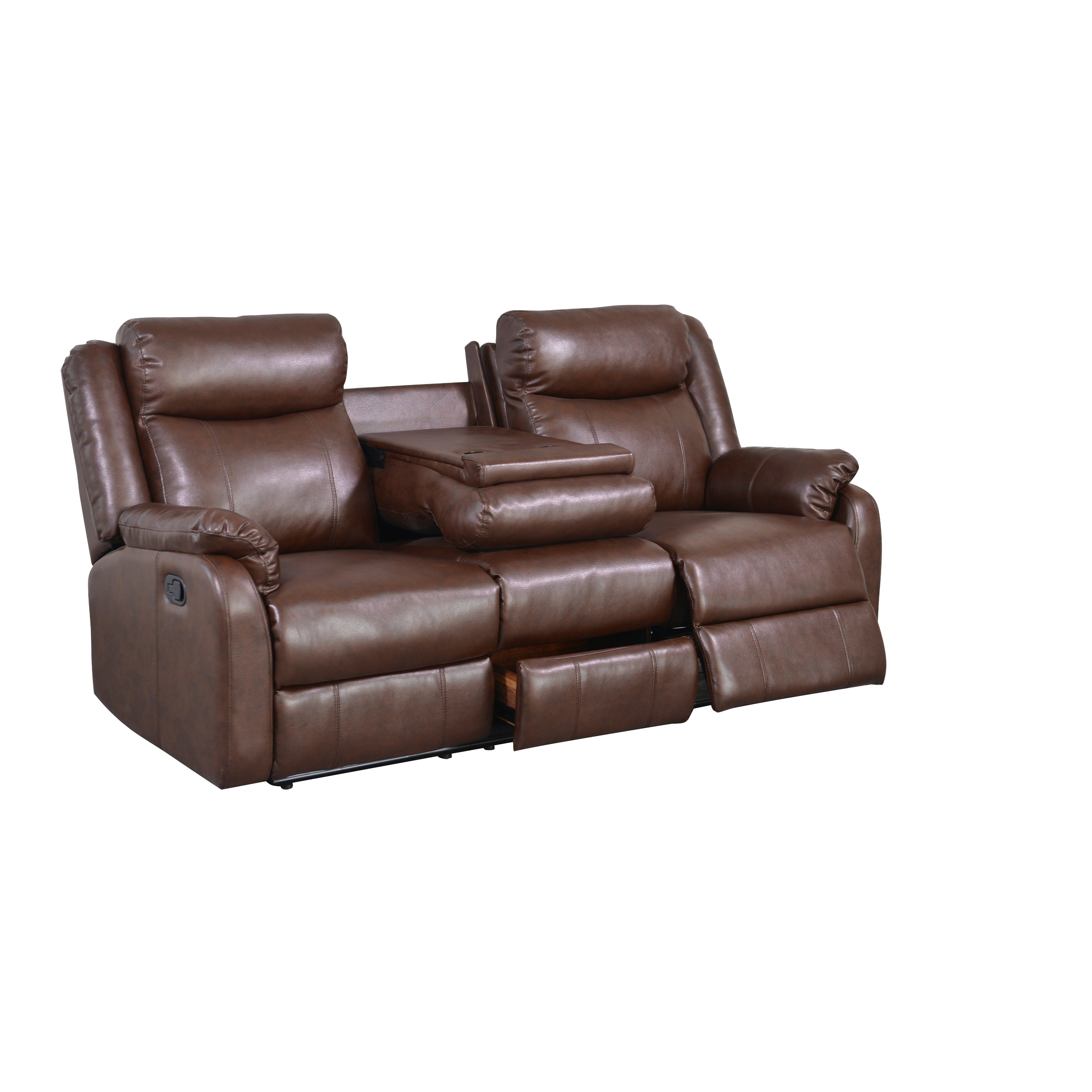 Overstock.com Brown Bonded Leather Double Recliner with Table Console at Sears.com