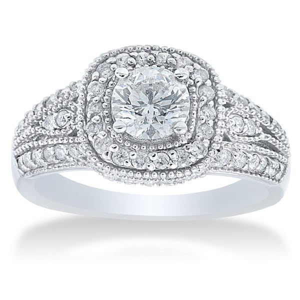 Bliss 14k White Gold 1 1/3ct TDW Diamond Vintage Engagement Ring (G-H, I1-I2)