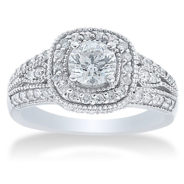 14k White Gold 1 1/3ct TDW Diamond Vintage Engagement Ring (I-J, I2-I3)