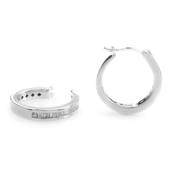 Petite 14k White Gold Diamond Baguette Hoop Earrings (H-I, SI1-SI2)