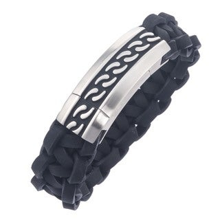 Stainless Steel Men's Braided Leather Black Enamel Bracelet