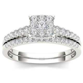 De Couer 10k White Gold 1/2ct TDW Diamond Cluster Engagement Ring Set (H-I, I2)