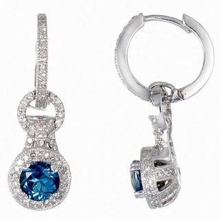 14k White Gold 1 1/6ct TDW Diamond and London Blue Topaz Earrings (G-H, I1-I2)
