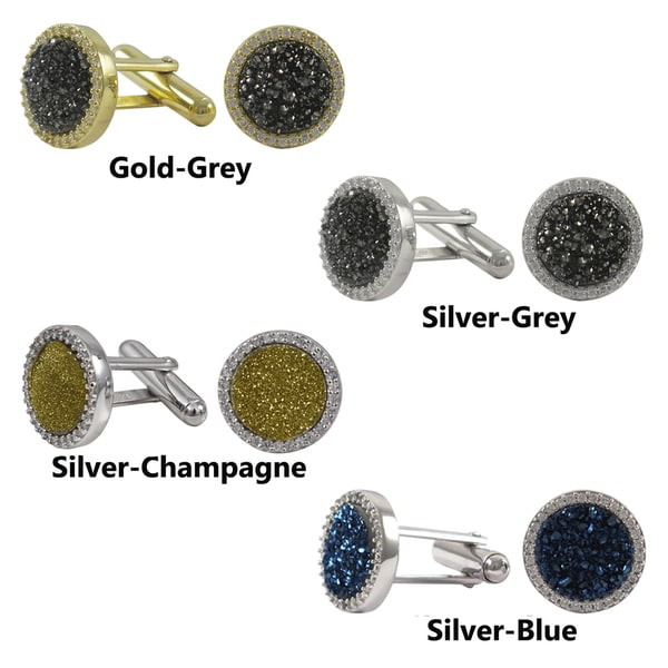 Sterling Silver Druzy Quartz and Cubic Zirconia Round Mens Cufflinks