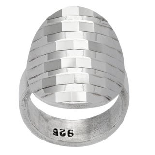 Kele & Co. Sterling Silver Diamond-cut Disco Ring