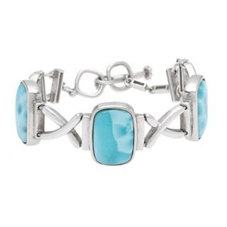Sterling Silver Larimar Toggle Bracelet